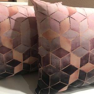 2 Society6 pillows diamond pink gold